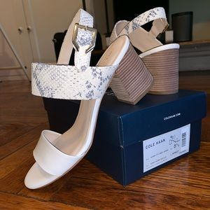 BRAND NEW COLE HAAN IVORY LEATHER HEELED SANDAL